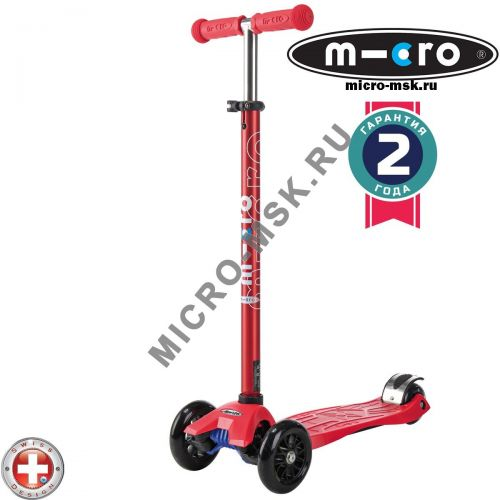 Самокат трехколесный Maxi Micro colored metallic T-tube red (Макси Микро Т-тьюб красный)