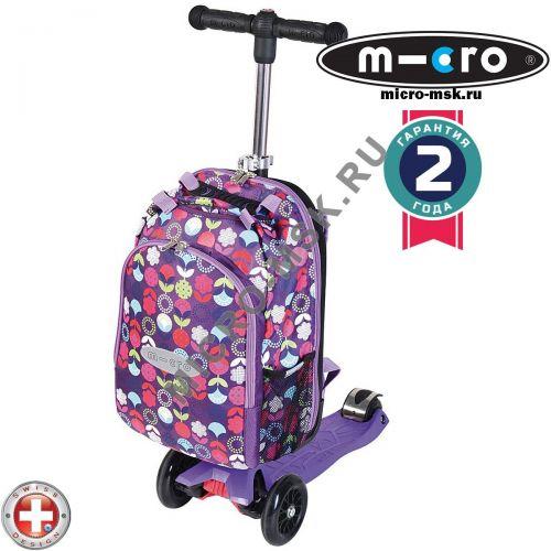 Самокат трехколесный Maxi Micro 4in1 floral dot purple (Макси Микро 4в1 сиреневый)