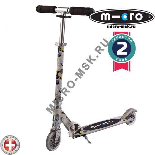 Самокат Micro scooter Sprite floral grey (Микро скутер Спрайт флорал серый)