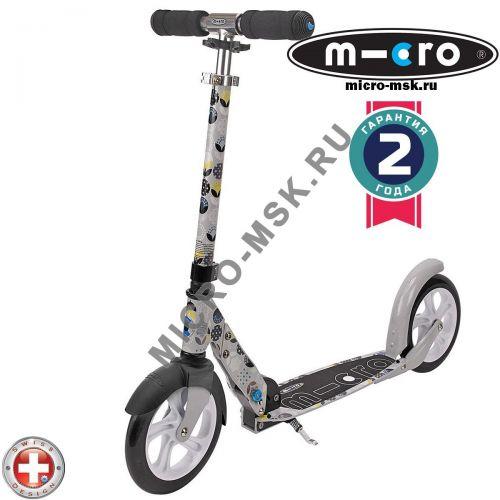 Самокат Micro scooter White floral grey (Микро скутер Уайт флорал серый )