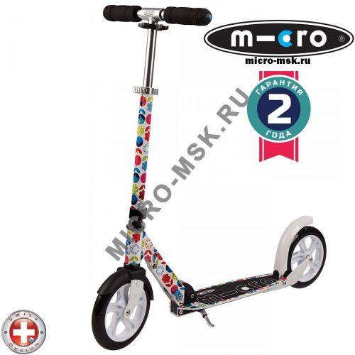 Самокат Micro scooter White floral multicolor (Микро скутер Уайт флорал мультиколор)