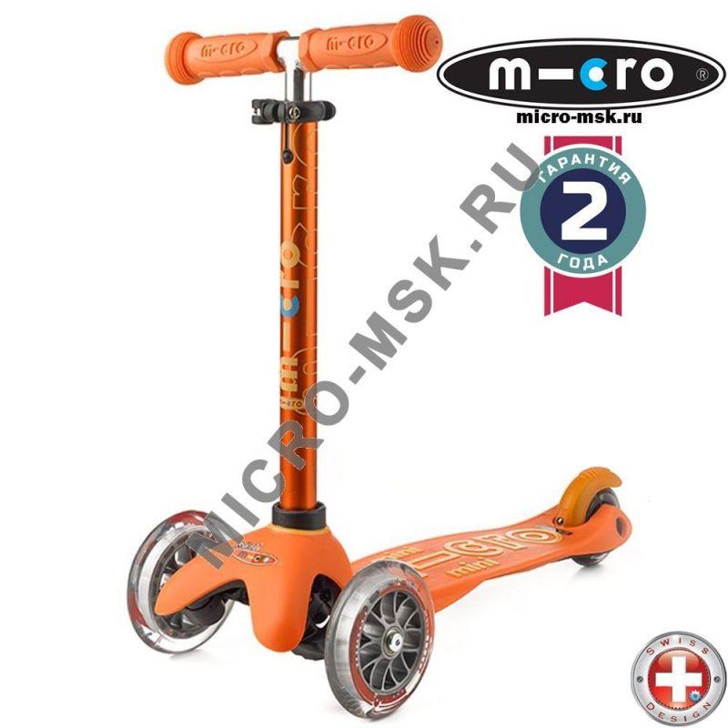 Самокат трехколесный Mini Micro Deluxe orange (Мини Микро Делюкс оранжевый)