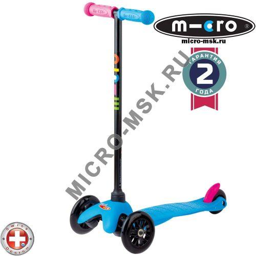 Самокат трехколесный Mini Micro Sporty Neon blue (Мини Микро Спорти неон синий)
