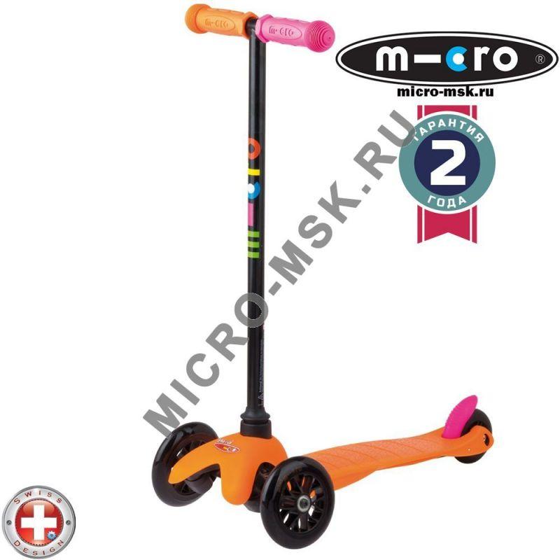Самокат трехколесный Mini Micro Sporty Neon orange (Мини Микро Спорти Неон оранжевый)