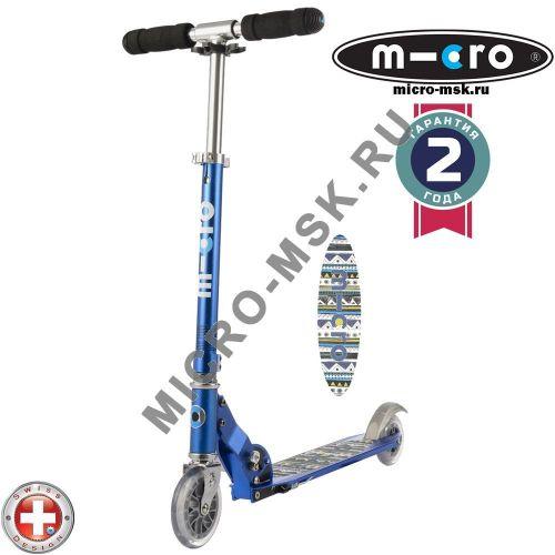 Самокат Micro scooter Sprite blue Aztec (Микро скутер Спрайт синий Ацтек)