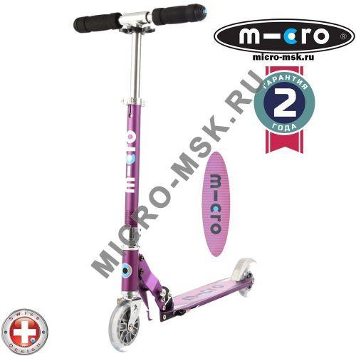 Самокат Micro scooter Sprite purple Stripe (Микро скутер Спрайт сиреневый Полоска)