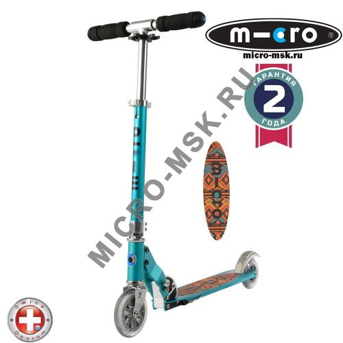 Самокат Micro scooter Sprite teal Tribal (Микро скутер Спрайт бирюзовый Трайбл)