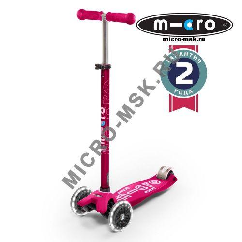 Самокат со светящимися колесами Maxi Micro Deluxe LED pink