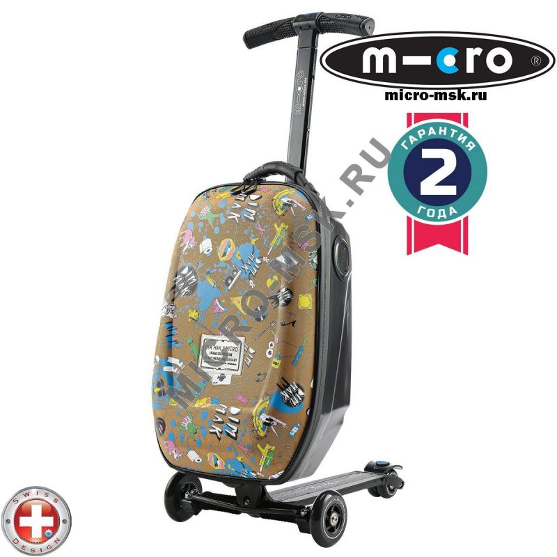 Самокат с чемоданом Micro Luggage Steve Aoki Sound2go