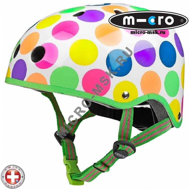 Защитный шлем Micro неоновый горох размер M (53-58cm)