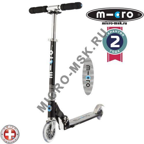 Самокат Micro scooter Sprite black Stripe (Микро скутер Спрайт черный полоска)
