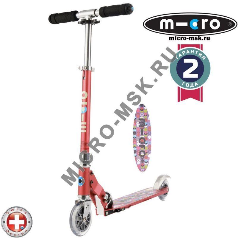 Самокат Micro scooter Sprite raspberry Floral (Микро скутер Спрайт малиновый цветок)