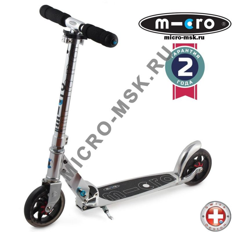 Самокат Micro scooter Speed + Pure silver (Микро скутер Спид плюс серебряный)