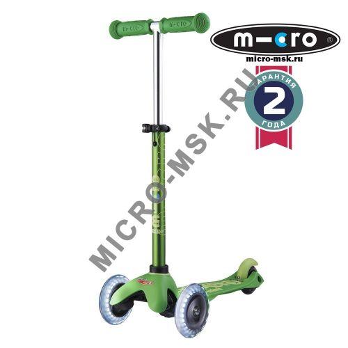 Самокат со светящимися колесами Mini Micro Deluxe LED green