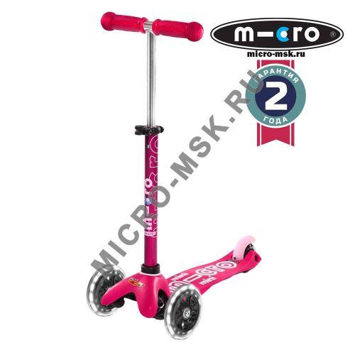 Самокат со светящимися колесами Mini Micro Deluxe LED pink