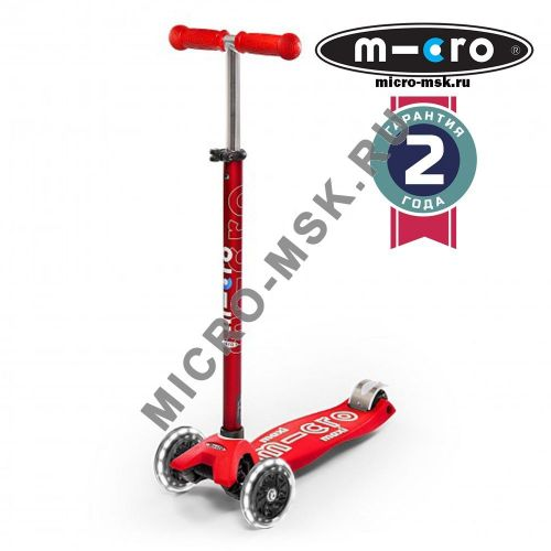 Самокат со светящимися колесами Maxi Micro Deluxe LED red